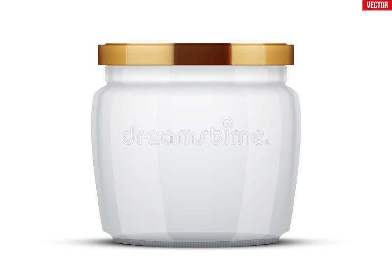 Διαφανή βάζα γυαλιού για την κονσερβοποίηση και τη συντήρηση ελεύθερη απεικόνιση δικαιώματος