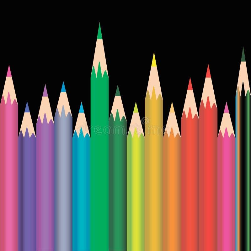Διαφορετικά μεγέθους και χρωματισμένα μολύβια στο μαύρο υπόβαθρο διανυσματική απεικόνιση