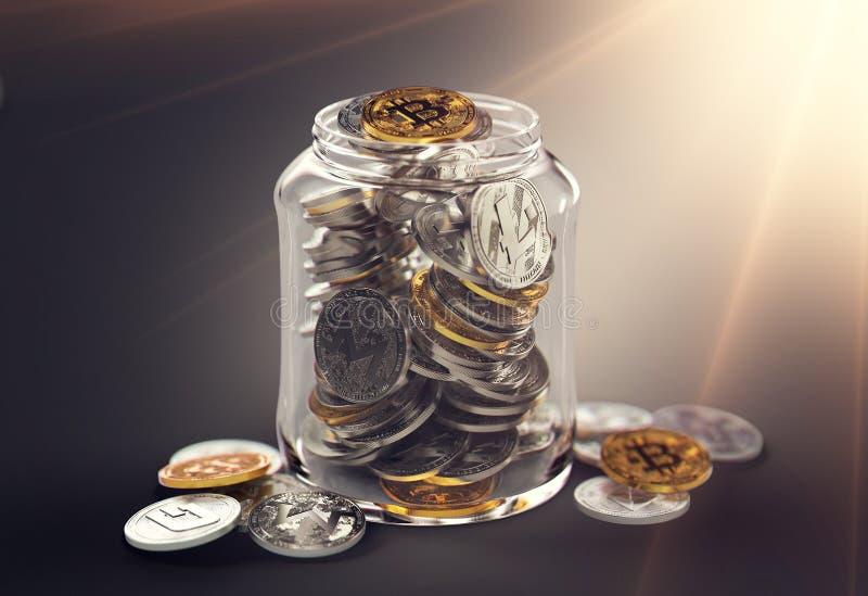 Διαφορετικά cryptocurrencies σε ένα βάζο με τη φωτεινή φλόγα ήλιων Αποταμίευση για την αποχώρηση με την έννοια cryptocurrencies Ρ διανυσματική απεικόνιση