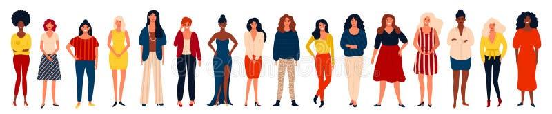 Διαφορετική διεθνής ομάδα ευτυχών γυναικών ή κοριτσιών που στέκονται από κοινού διανυσματική απεικόνιση