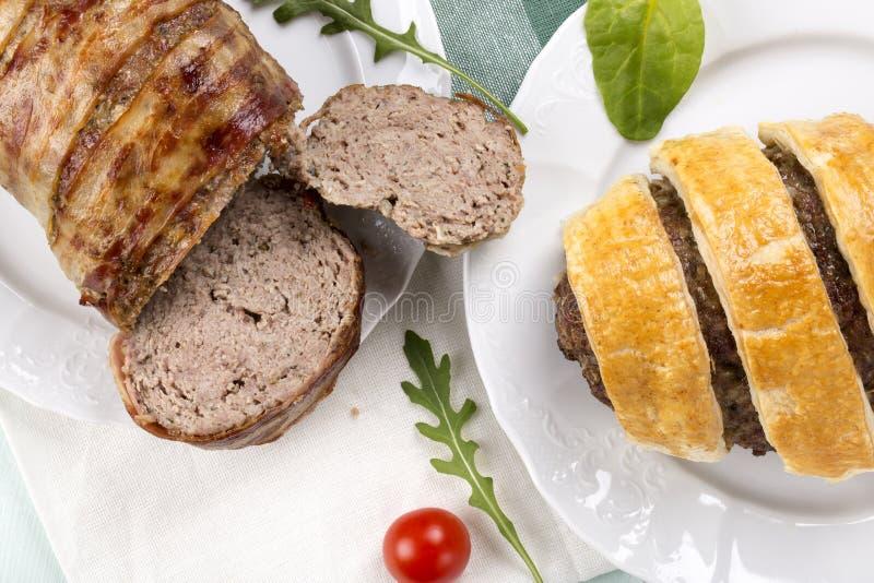 Διαφορετικό meatloaf δύο του κιμά στοκ εικόνες