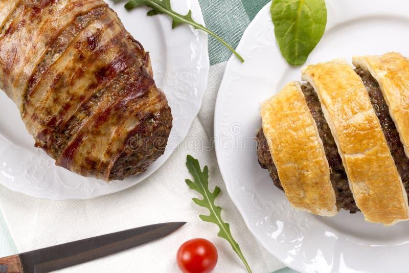 Διαφορετικό meatloaf δύο του κιμά στοκ φωτογραφία
