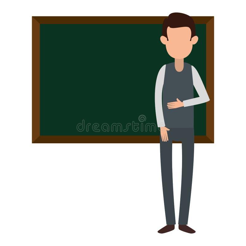 Διδασκαλία ατόμων με το χαρακτήρα πινάκων κιμωλίας απεικόνιση αποθεμάτων