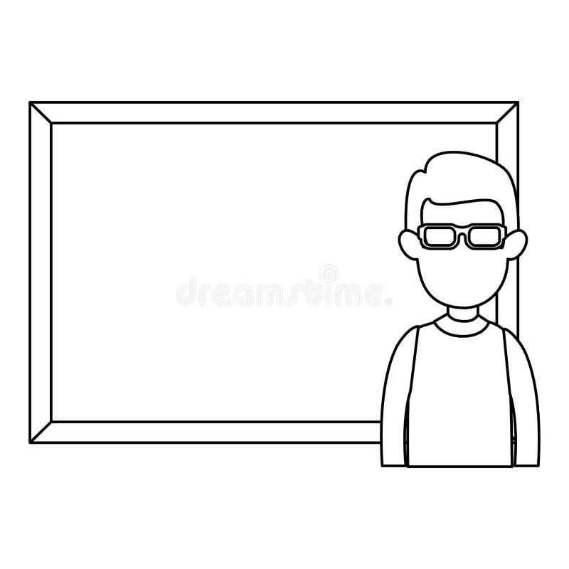 Διδασκαλία ατόμων με το χαρακτήρα πινάκων κιμωλίας ελεύθερη απεικόνιση δικαιώματος