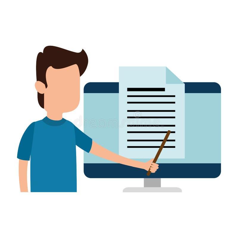 Διδασκαλία ατόμων στο χαρακτήρα υπολογιστών ελεύθερη απεικόνιση δικαιώματος