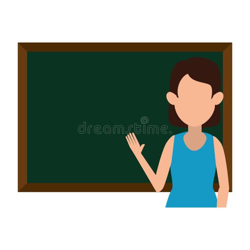 Διδασκαλία γυναικών με το χαρακτήρα πινάκων κιμωλίας απεικόνιση αποθεμάτων