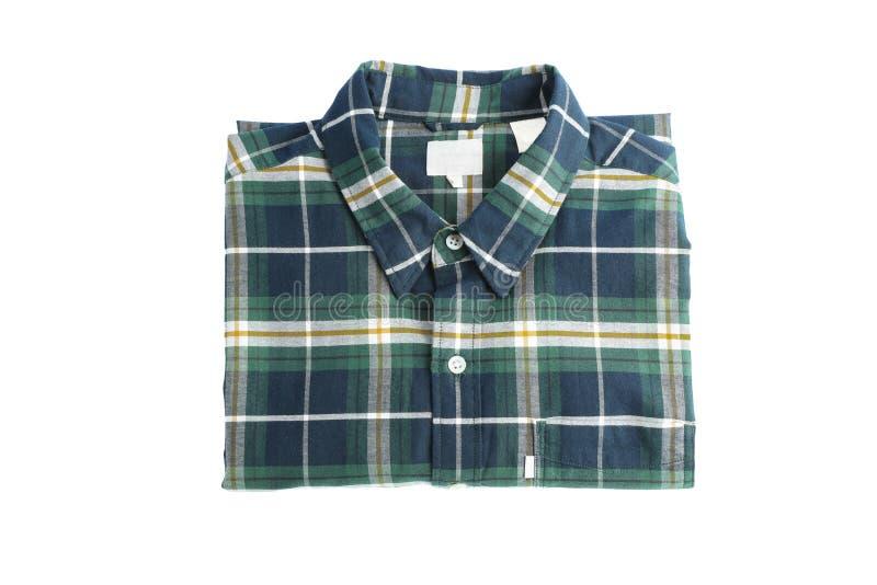 Διπλωμένο ελεγμένο πουκάμισο που απομονώνεται στο υπόβαθρο στοκ φωτογραφία