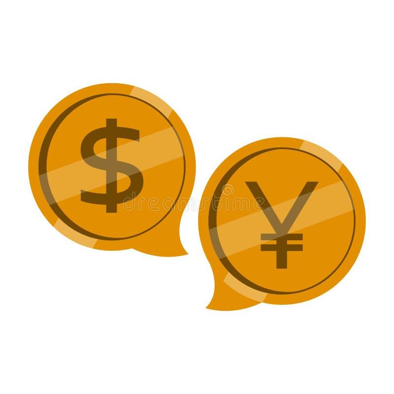 Δολάριο και yuan νομίσματα σε μια συνομιλία φυσαλίδων απεικόνιση αποθεμάτων