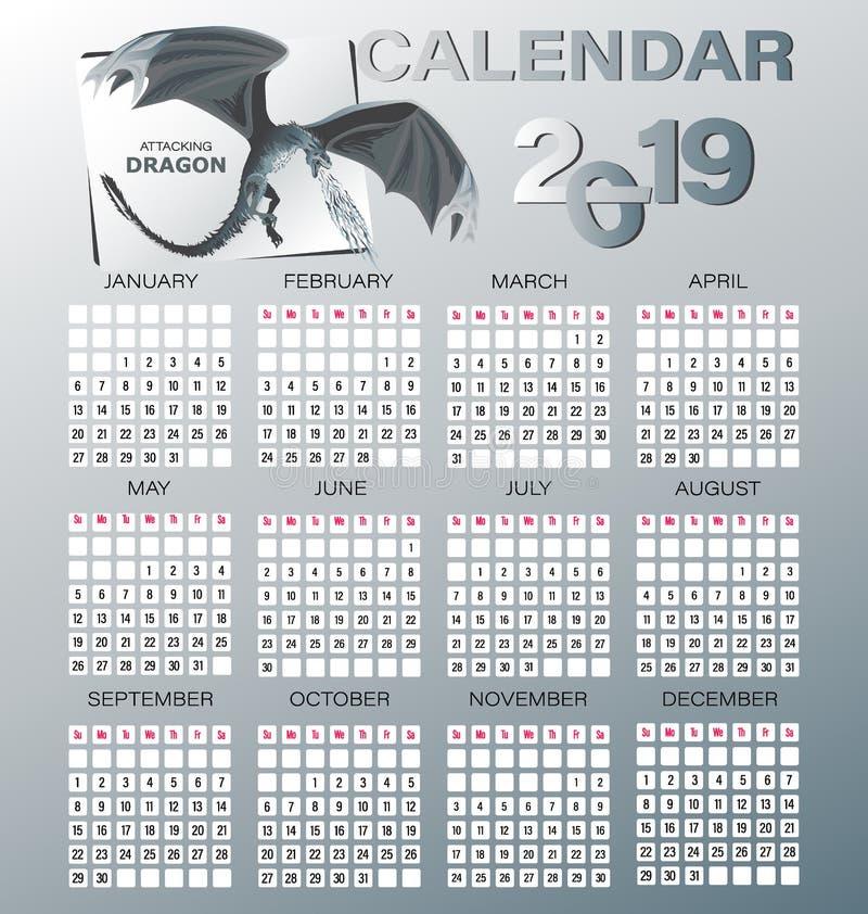 ΔΡΑΚΟΣ ΕΠΙΘΕΣΗΣ Ημερολόγιο για το 2019 διανυσματική απεικόνιση