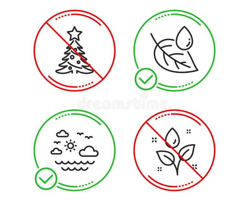 Δροσιά φύλλων, θάλασσα ταξιδιού και εικονίδια χριστουγεννιάτικων δέντρων καθορισμένες Εγκαταστάσεις που ποτίζουν το σημάδι Πτώση  απεικόνιση αποθεμάτων