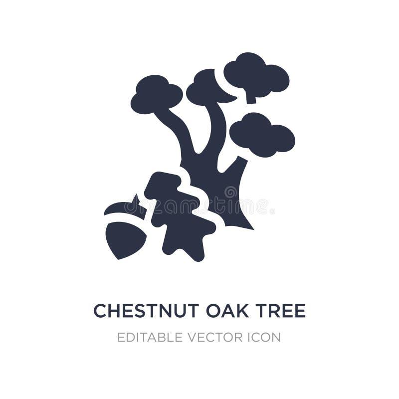 δρύινο εικονίδιο δέντρων κάστανων στο άσπρο υπόβαθρο Απλή απεικόνιση στοιχείων από την έννοια φύσης διανυσματική απεικόνιση
