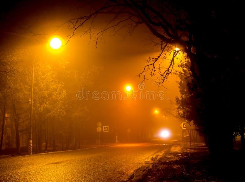 Δρόμος πόλεων κάτω από το φως των αμυδρών φωτεινών σηματοδοτών κατά τη διάρκεια μιας παχιάς ομίχλης τη νύχτα στοκ φωτογραφίες με δικαίωμα ελεύθερης χρήσης