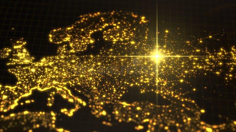 Δύναμη της Ρωσίας, ενεργειακή ακτίνα στη Μόσχα σκοτεινός χάρτης με τις φωτισμένες πόλεις και τις ανθρώπινες περιοχές πυκνότητας τ απεικόνιση αποθεμάτων