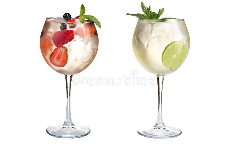 Δύο αναζωογονώντας κοκτέιλ με τη μέντα, τα φρούτα και τα μούρα σε ένα άσπρο υπόβαθρο Κοκτέιλ goblets γυαλιού στοκ φωτογραφίες με δικαίωμα ελεύθερης χρήσης
