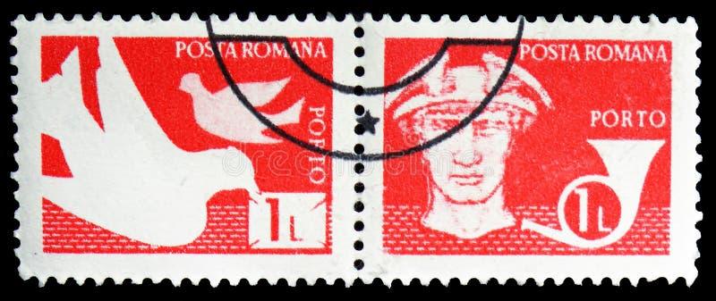 Δύο γραμματόσημα που τυπώνονται στη Ρουμανία από το ταχυδρομείο και τις τηλεπικοινωνίες IV το serie, circa 1982 στοκ εικόνα με δικαίωμα ελεύθερης χρήσης