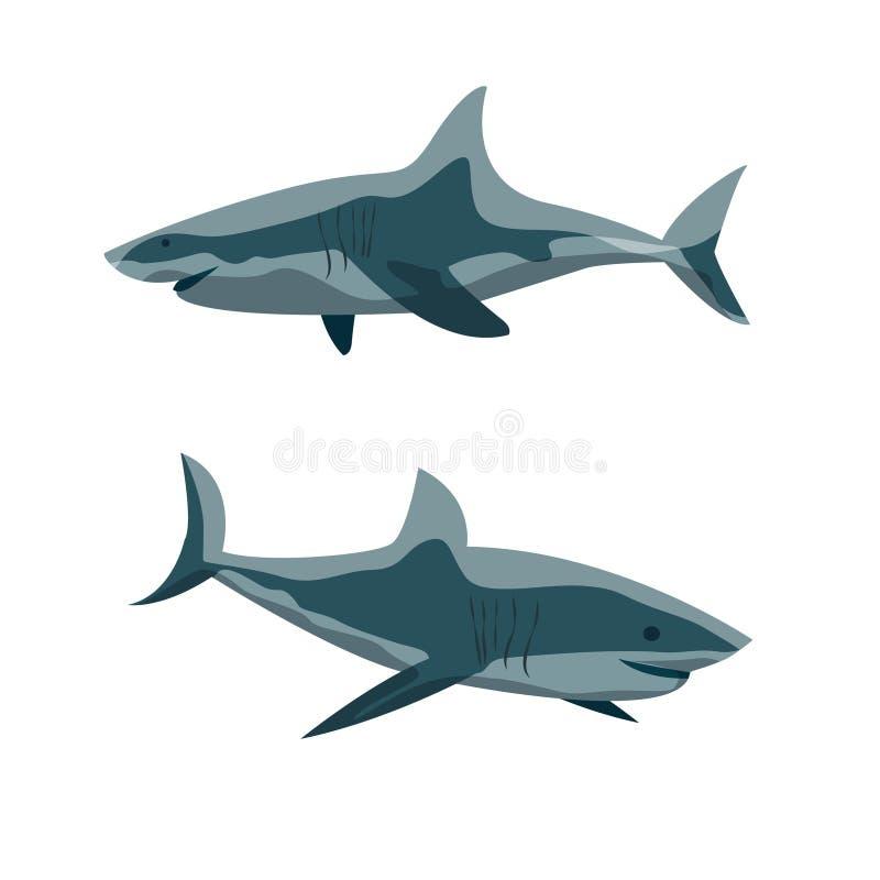 Δύο καρχαρίες σε διαφορετικό θέτουν Άγριοι κάτοικοι της θάλασσας και του ωκεανού διανυσματική απεικόνιση