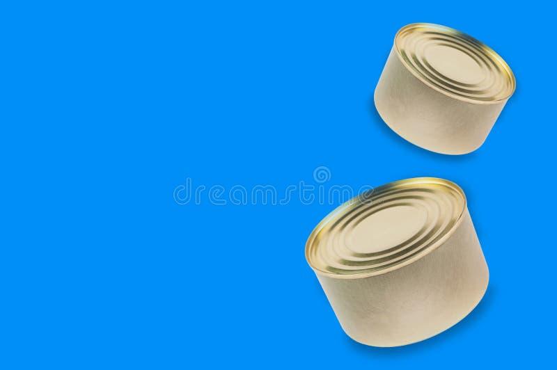 Δύο δοχεία των κονσερβοποιημένων τροφίμων στο μπλε υπόβαθρο στοκ φωτογραφίες με δικαίωμα ελεύθερης χρήσης