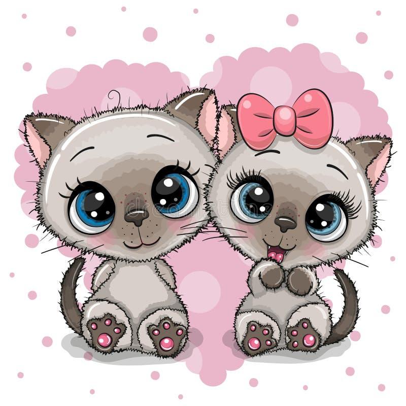 Δύο χαριτωμένα γατάκια σε ένα υπόβαθρο καρδιών ελεύθερη απεικόνιση δικαιώματος