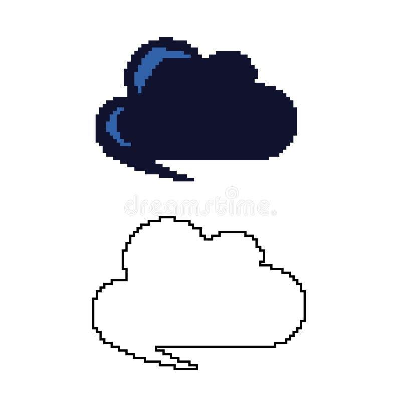 Δύο παραλλαγές του σύννεφου στο ύφος της τέχνης εικονοκυττάρου διανυσματική απεικόνιση
