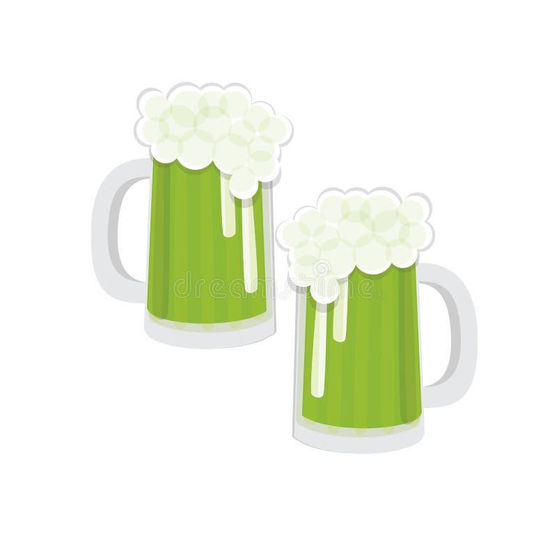 Δύο ποτήρια της πράσινης μπύρας Μπύρα Leprechaun Διανυσματική διανυσματική απεικόνιση μπύρας απεικόνιση αποθεμάτων