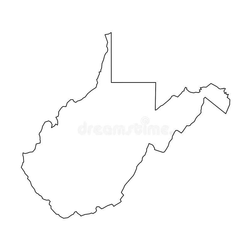 Δυτική Βιρτζίνια, κατάσταση των ΗΠΑ - στερεός μαύρος χάρτης περιλήψεων της περιοχής χωρών Απλή επίπεδη διανυσματική απεικόνιση διανυσματική απεικόνιση
