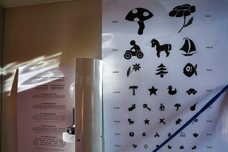 Δωμάτιο εξέτασης ματιών για τα παιδιά στοκ εικόνα