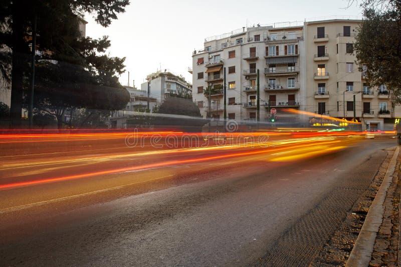 Î-notre du trafic maximal à Athènes Mouvement de voiture photographie stock libre de droits