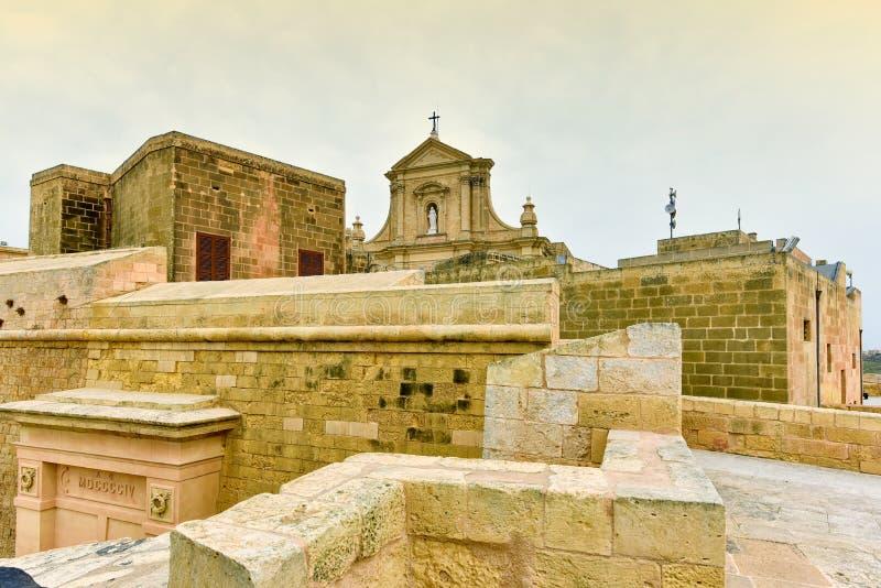 Île antique de Gozo de forteresse de citadelle, Malte photographie stock