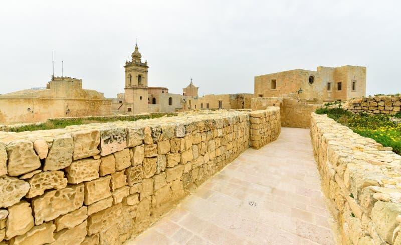 Île antique de Gozo de forteresse de citadelle, Malte photos stock
