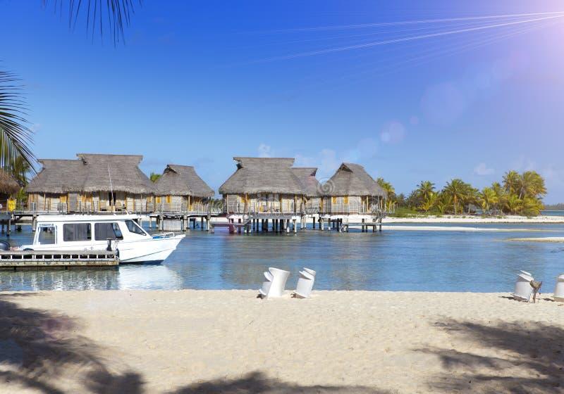 Île avec des palmiers et de petites maisons sur l'eau et le bateau à l'amarrage image libre de droits