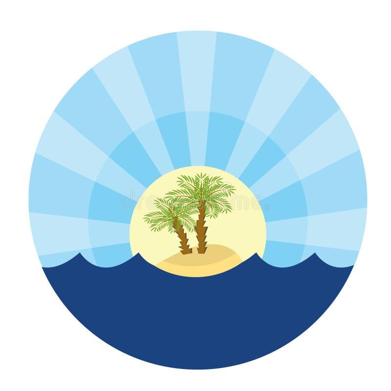 Île avec deux paume-arbres illustration de vecteur
