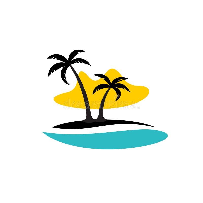 Île avec le logo de paumes, de mer et de soleil illustration libre de droits