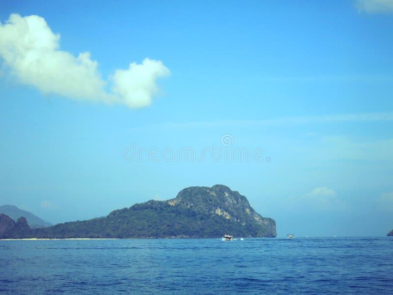Île bleue Palawan d'hélicoptère images libres de droits