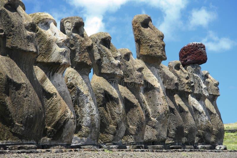 Île d'Ahu Tongariki Pâques photos libres de droits