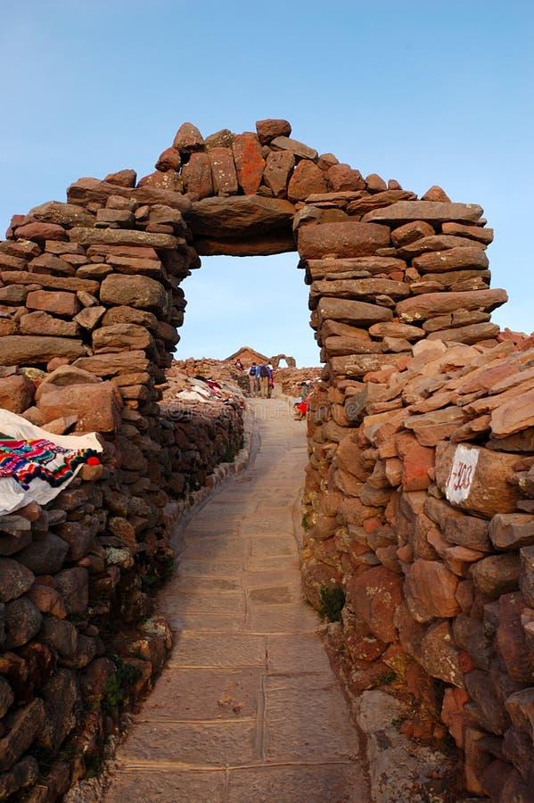 Île d'Amantani sur le lac Titicaca, Pérou photographie stock libre de droits
