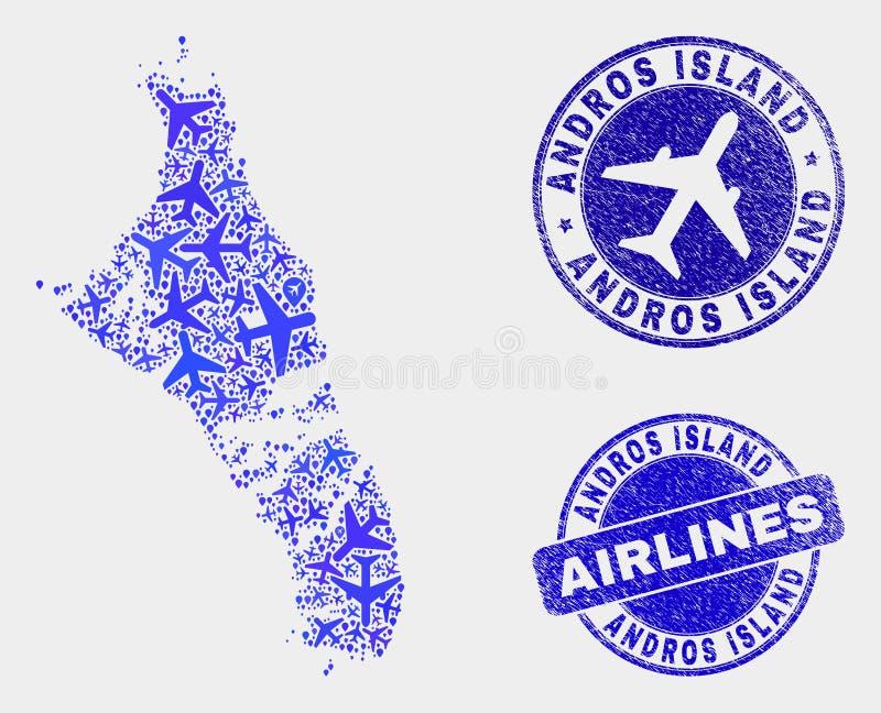 Île d'Andros de vecteur de composition en aviation de carte des Bahamas et de timbres grunges illustration libre de droits