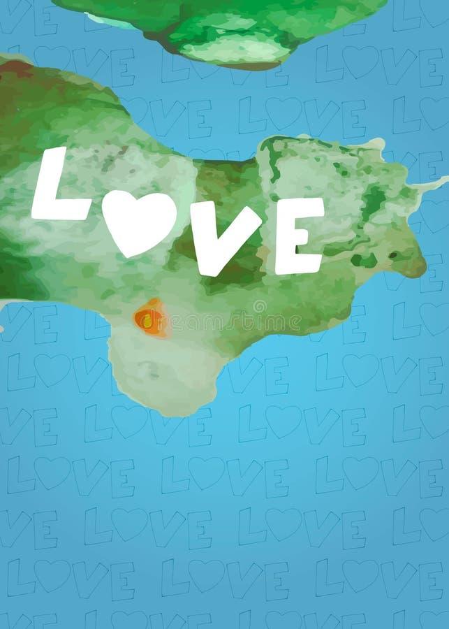 Île d'aquarelle de l'amour Coeur d'aquarelle Carte pour le jour du ` s de valentine illustration de vecteur