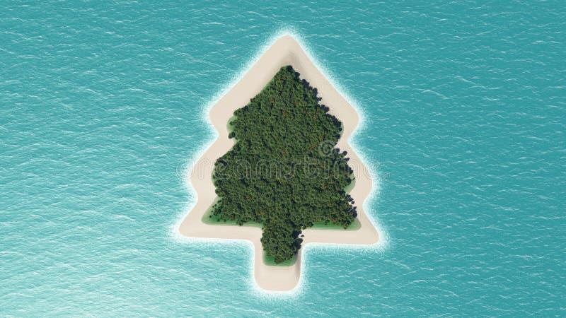 Île d'arbre de Noël illustration de vecteur