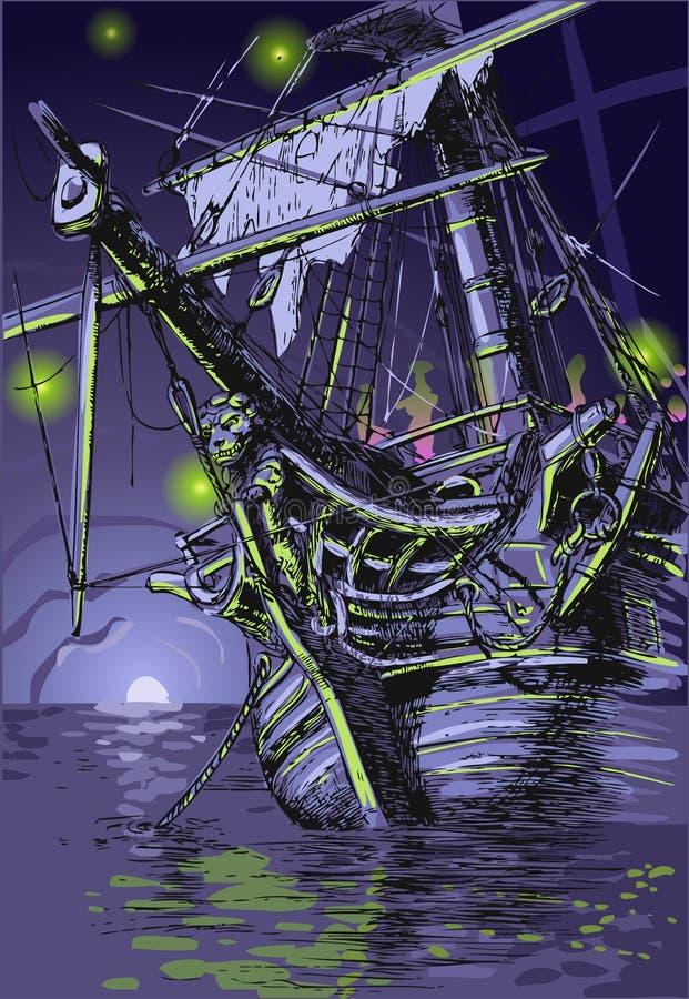 Île d'aventure - le bateau de Ghost illustration de vecteur