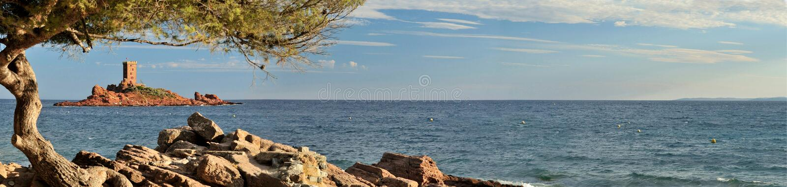 ÃŽle D'Or. Evening scenery at Azure coast with Ile d'Or or Tintin's Black Island in Provence - France stock photos