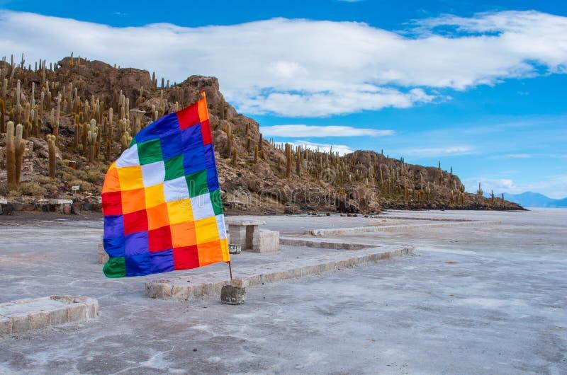 Île d'Incahuasi en Salar de Uyuni bolivia photos libres de droits