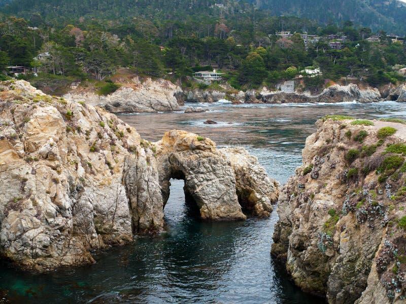 Île d'oiseau, côte rocailleuse près de Carmel California photos stock