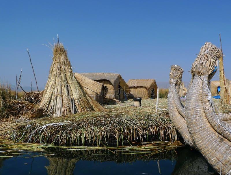 Île d'Uros, Pérou image libre de droits