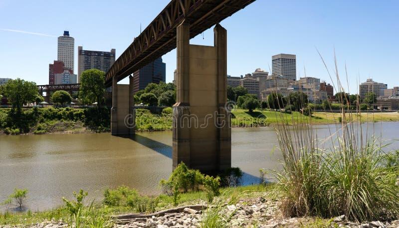 Île de boue de Tressle de train au-dessus de Wolf River Harbor Memphis Tennesse image stock