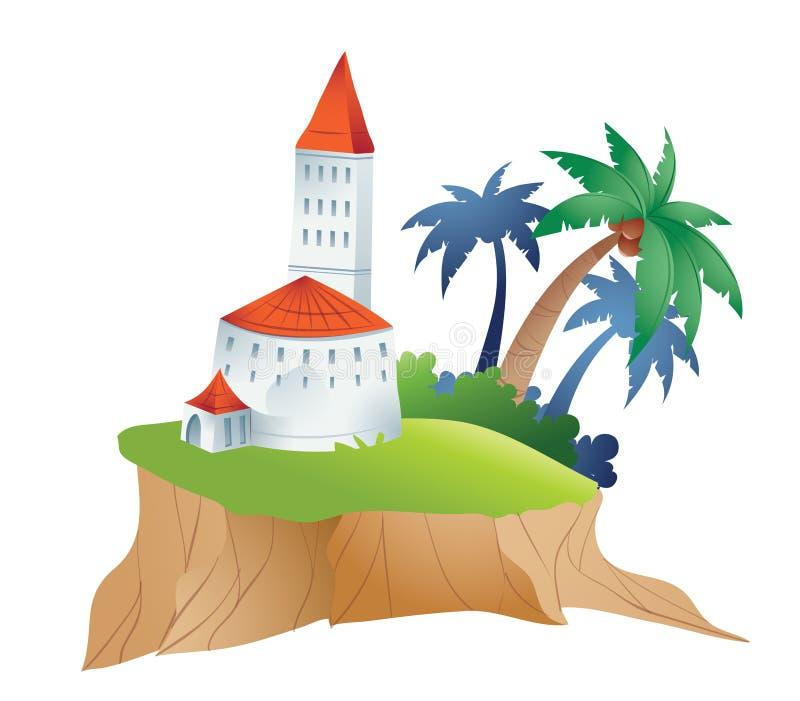 île de château illustration de vecteur