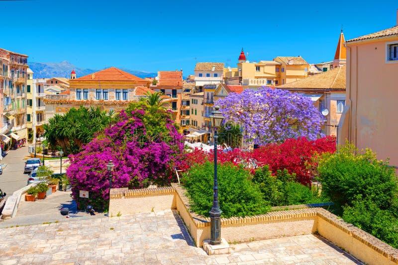 ÎLE DE CORFOU, GRÈCE, JUIN, 06, 2014 : Les arbres colorés de parc du centre de jardin fleurit la vieille architecture grecque de  photographie stock