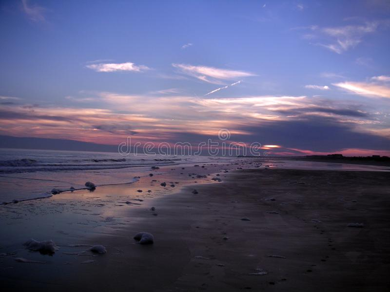 Île de coucher du soleil de la Caroline du Sud de paumes par les nuages avec les cieux pourpres photographie stock
