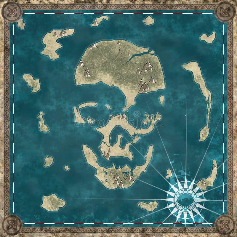 Île de crâne, cartographie de carte d'une île formant la forme d'un crâne illustration de vecteur
