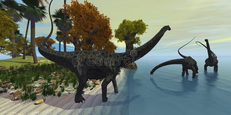 Île de Diplodocus illustration de vecteur
