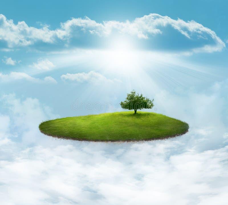Île de flottement avec l'arbre illustration stock